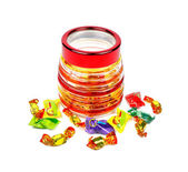 Sweets in the form of a barrel with scattered sweets — Stock Photo