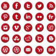 RED web design and graphic-design icons set — Stock Vector