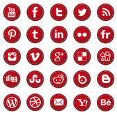 Red Social media icons — Stock Vector