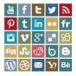 Set de 25 iconos coloreados de social media — Vector de stock