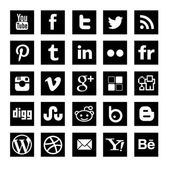 25 Black simple Social-media icons set — Stock Vector