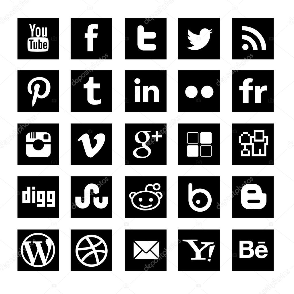 dadartdesign: Vector Social Media Icons Black Square
