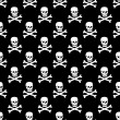 Vector Skulls seamless Pattern Monochrome Black And White — Stock Vector