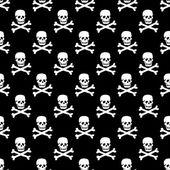 Vector Skulls seamless Pattern Monochrome Black And White — Stock Vector