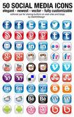 Conjunto de medios sociales de 50 nuevos iconos — Vector de stock