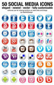 Social Media set of 50 newest icons — 图库矢量图片