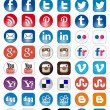 50 Icon set of Social Media share buttons — Stock Vector