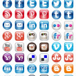 50 Icon set of Social Medishare buttons — стоковый вектор #34088261