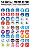 Social-media-set 50 neuesten icons — Stockvektor