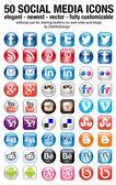 50 icono de conjunto de botones de medios sociales — Vector de stock