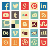 Simple social media icon retro style — Stock Vector