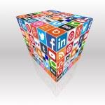 Постер, плакат: Social media concept cube