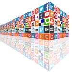 Social media concept wall — Stock Vector