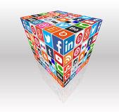 Social media concept cube — Stock Vector