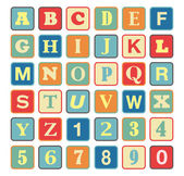 Retro block Alphabet with vintage colors and letters — Stock Vector