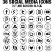 36 Social media icons - new version - circle black outline borders — Stock Vector #45746041