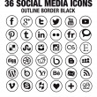 36 Social media icons - new version - circle black outline borders — Stock Vector