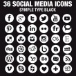 36 New Social media icons - Circle white - new version — Stock Vector