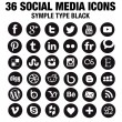 36 New Social media icons - circle black — Stock Vector #45746051
