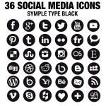 36 New Social media icons - circle black — Stock Vector