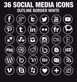 36 Social media icons - new version - circle white outline borders — Stock Vector