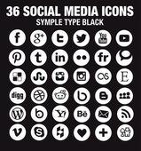 36 New Social media icons - Circle white - new version — Stock Vector