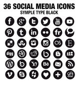 36 New Social media icons - circle black — 图库矢量图片