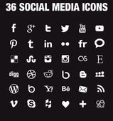 36 Social media icons - new version — Stock Vector