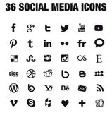 36 Social media icons - new version — Stock Vector