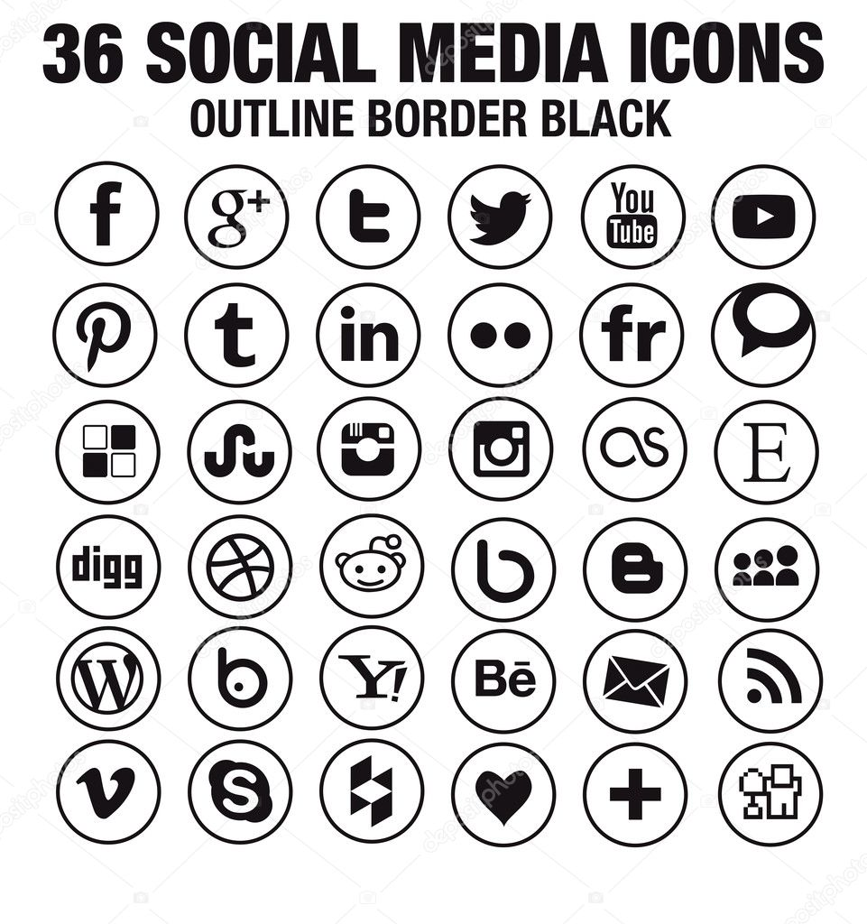 36 Social media icons - new version - circle black outline borders
