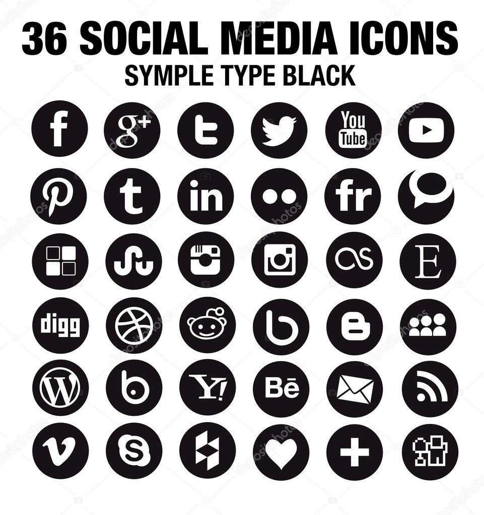 36 New Social media icons - circle black — Stock Vector ...