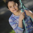 Child playing on the swing — Stock Photo