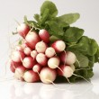 Fresh red radish with green leaf — Stock Photo