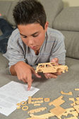 Boy Made A Toy Car — Foto Stock