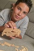 Boy Made A Toy Car — Stock Photo