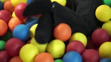 Little boy in ball pit — Vidéo