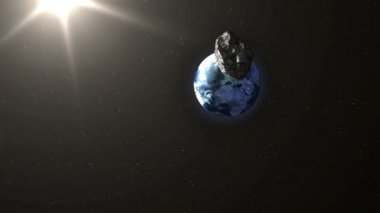 Asteroid Hitting Earth — Stock Video