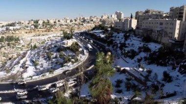 Jeruzalém silnic na sněhu — Stock video