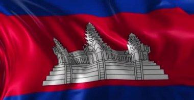 Vlag van cambodja — Stockvideo