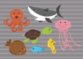 Cute Cartoon Marine Sea Animals Digital Clip Art Clipart Set - For Scrapbooking, Card — Stock Vector