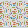 Seamless Cartoon Animal Background Pattern — Vettoriali Stock