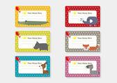 Cute Animal Cartoon Batch Sticker — Stock Vector