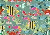 Seamless Cartoon Animal Background Pattern — Stock Vector