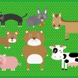 Cute Cartoon Farm Animals Digital Clip Art Clipart Set - For Scrapbooking, Card Making, Invites — Stock Vector