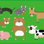 Cute Cartoon Farm Animals Digital Clip Art Clipart Set - For Scrapbooking, Card Making, Invites — Stock Vector