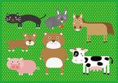 Dessin animé mignon ferme animaux numérique clip art images clipart ensemble - pour le scrapbooking, rendant carte invite — Vecteur