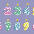 Cute Cartoon 0-9 Number Candles Digital Clip Art Set - For Scrapbooking, Card Making, Invites - Instant Download — ベクター素材ストック
