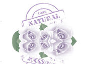 Floral background with stamp with the text natural written inside the stamp — Stock Photo
