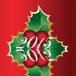 Christmas card of european holly Ilex — Stockfoto