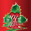 Christmas card of european holly Ilex — Foto Stock #39755375